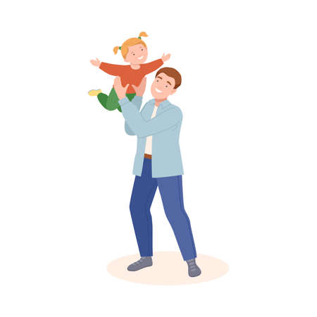 Young Father Playing with His Daughter Flying Her in the Air Vector Illustration
