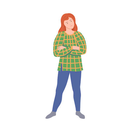 Young Woman with Her Arms Folded Standing out with Her Opinion in Argument Vector Illustration