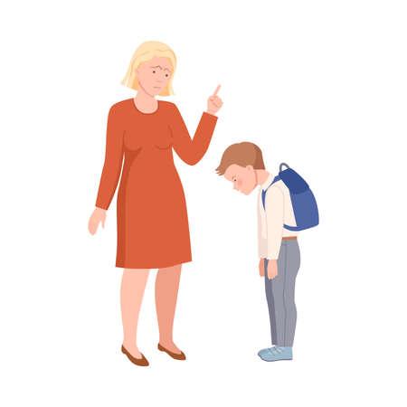 Annoyed Mother Scolding Her Son for Bad Behavior at School Vector Illustration Vettoriali