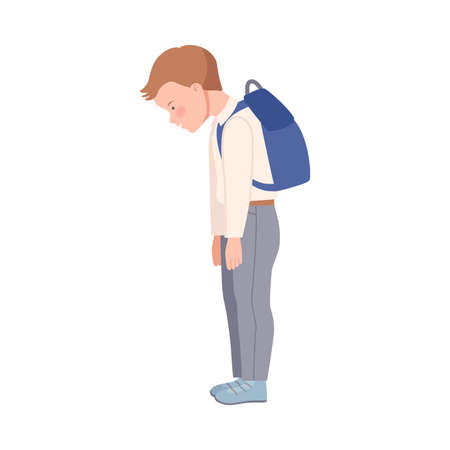 Embarrassed Little Boy with Backpack Having Guilty Look Bowing His Head in Shame Vector Illustration