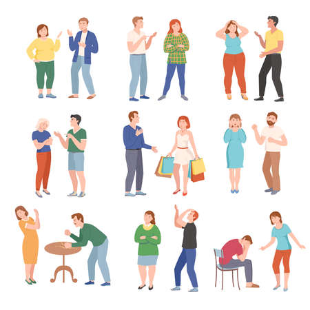 Conflicting Parents Arguing with Each Other Scolding and Shouting at Each Other Vector Illustration Set