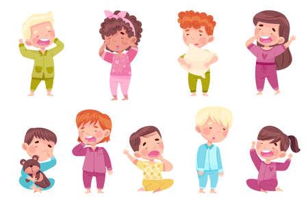 Sleepy Little Boy and Girl Wearing Pajamas Stretching and Yawning Vector Set