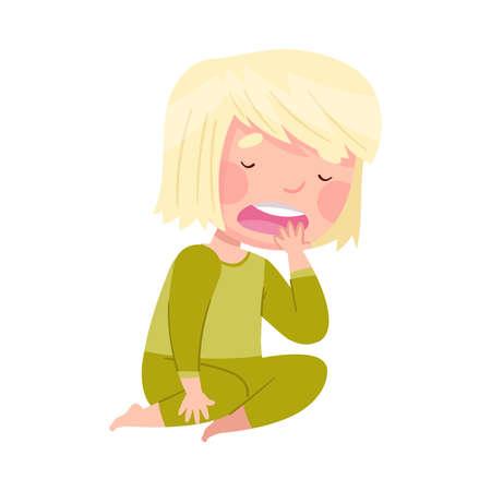 Sleepy Little Girl Wearing Pajamas Sitting on the Floor and Yawning Vector Illustration