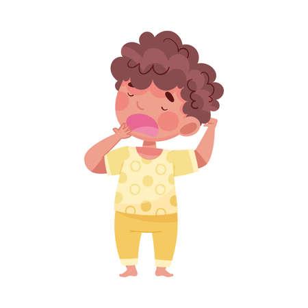 Sleepy Little Boy Wearing Pajamas Stretching and Yawning Vector Illustration