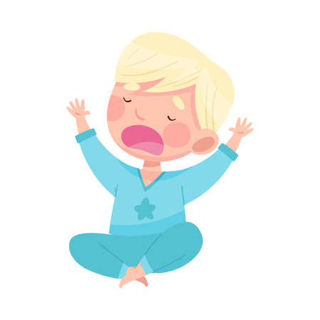 Sleepy Little Boy Wearing Pajamas Sitting Cross Legged Stretching and Yawning Vector Illustration