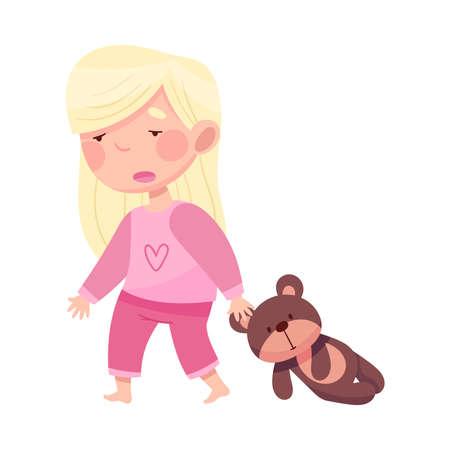 Sleepy Little Girl in Pajamas Pulling Teddy Bear and Yawning Vector Illustration