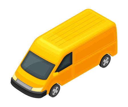 Yellow Van as Road Vehicle and Urban Transport Isometric Vector Illustration