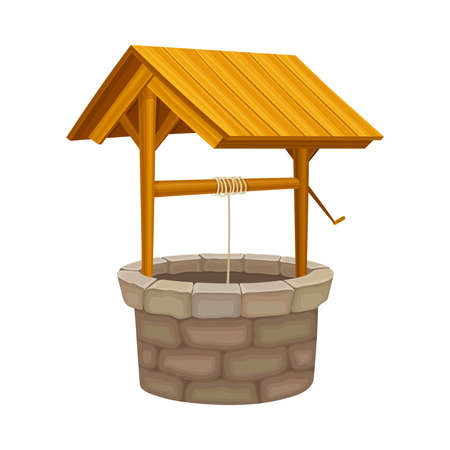 Well as Brick Structure in the Ground for Accessing Water with Bucket Raising by Pulling Rope Vector Illustration Vektorgrafik