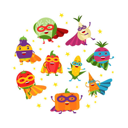 Funny Vegetable Hero in Mask and Cloak Rushing to Rescue