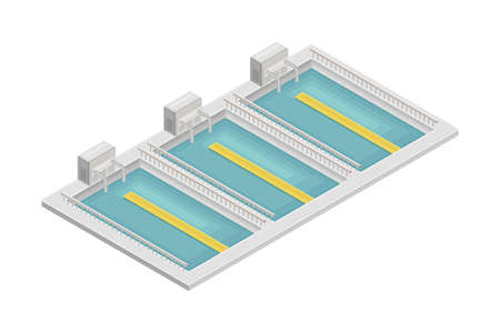Water Purification Process with Sedimentation in Reservoir or Basin  イラスト・ベクター素材