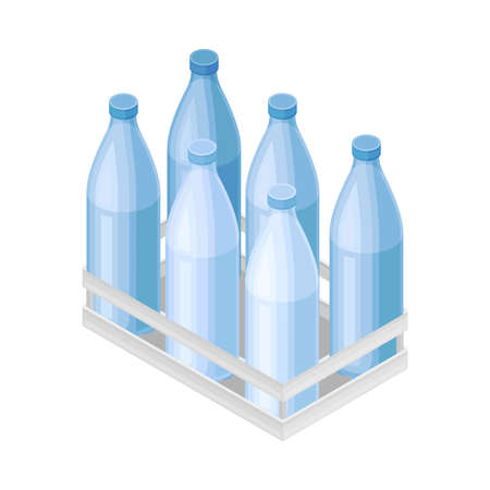 Water Poured in Plastic Bottles Rested in Crate for Storage and Distribution  イラスト・ベクター素材