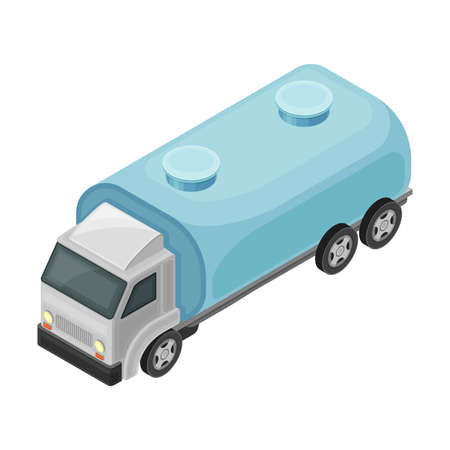 Water Distribution with Cargo Truck Carrying Metal Tank with Liquid  イラスト・ベクター素材