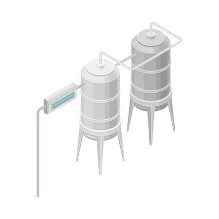 Water Purification Process with Filtration and Distillation in Cylindrical Tank  イラスト・ベクター素材