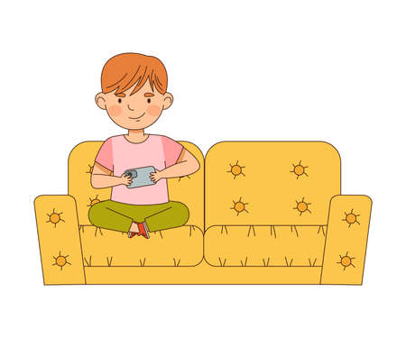 Cute Boy Sitting on Sofa with Smartphone Playing and Watching Vector Illustration