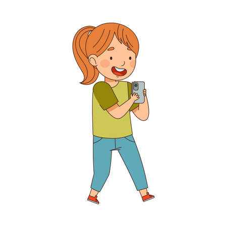 Pretty Little Girl Using Smartphone as Electronic Gadget Vector Illustration  イラスト・ベクター素材