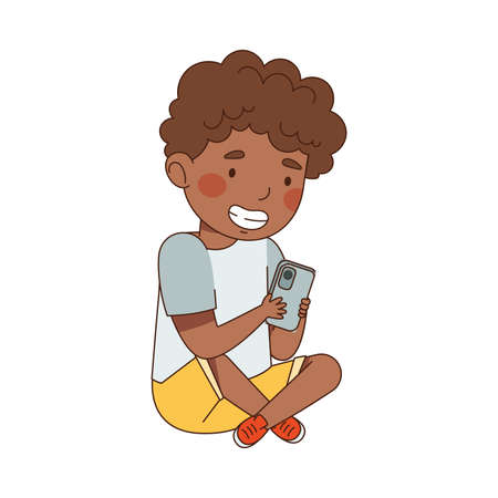 Pretty Little Boy Using Smartphone as Electronic Gadget Vector Illustration