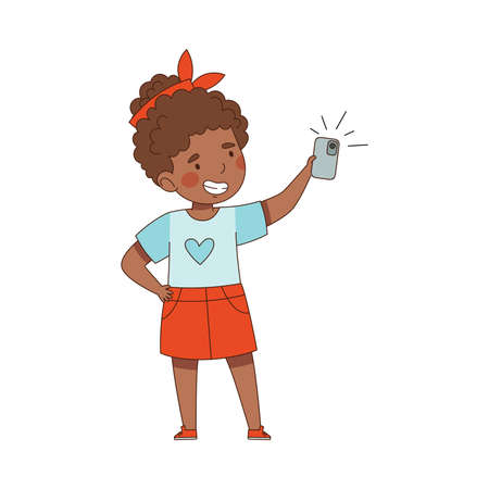 Pretty Little Girl Using Smartphone as Electronic Gadget Taking Selfie Vector Illustration  イラスト・ベクター素材