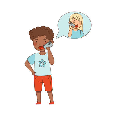 Cute African American Boy Speaking by Phone with His Agemate Vector Illustration