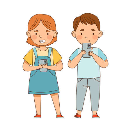Cute Boy and Girl Playing with Smartphone Vector Illustration