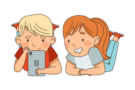Cute Boy and Girl Lying with Tablet PC Watching at Something Vector Illustration