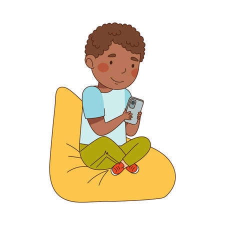 Little Boy with Smartphone Sitting on Beanbag and Playing Vector Illustration