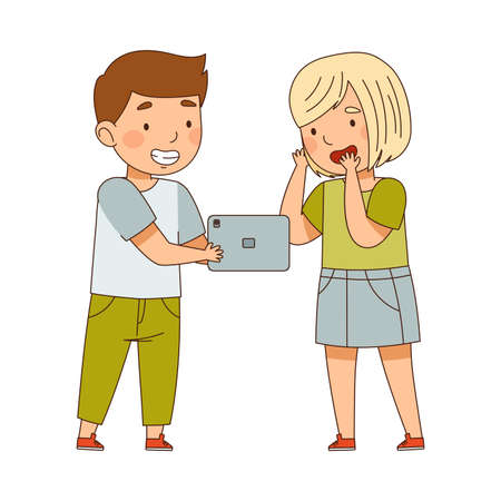 Cute Boy and Girl Watching Something on Tablet PC Vector Illustration