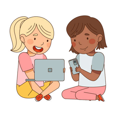 Cute Girls Sitting with Smartphone and Tablet PC Vector Illustration  イラスト・ベクター素材