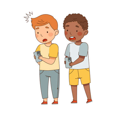 Shocked Boys Standing with Smartphone Watching Something Vector Illustration