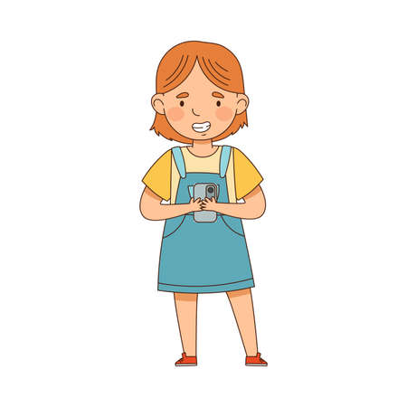 Cute Girl Gazing in Smartphone Playing and Watching Vector Illustration  イラスト・ベクター素材