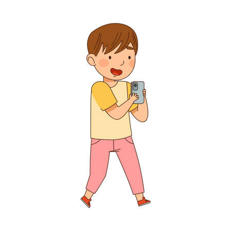 Cute Boy Gazing in Smartphone Playing and Watching Vector Illustration