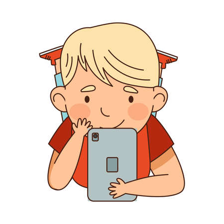 Little Blond Boy Lying with Tablet PC and Watching Something Vector Illustration  イラスト・ベクター素材