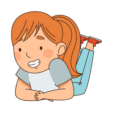 Little Redhead Girl with Ponytail Lying and Looking at Something with Interest Vector Illustration