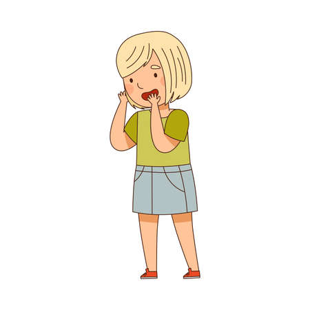 Little Blond Girl Standing Looking at Something with Interest Vector Illustration