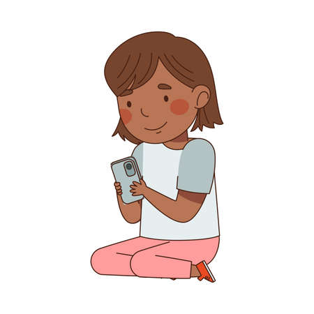 Little Girl Sitting with Smartphone and Watching Something Vector Illustration