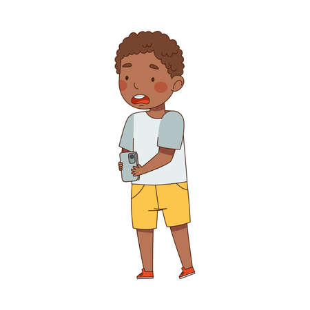 Shocked Little Boy Standing with Smartphone and Watching Something Vector Illustration  イラスト・ベクター素材