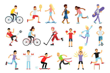 Young Energetic Man and Woman Doing Sport Activity Vector Illustration Set Vettoriali