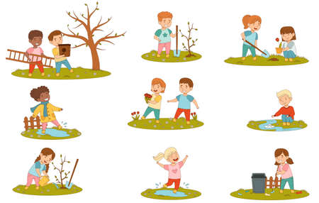 Cheerful Kids Enjoying Spring Season Splashing in Puddle, Planting Tree and Playing with Paper Boat Vector Set