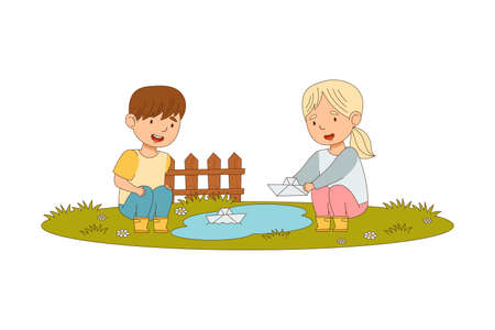Cheerful Boy and Girl Enjoying Spring Season Playing with Paper Boat Vector Illustration