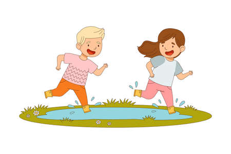 Cheerful Boy and Girl in Yellow Rubber Boots Enjoying Spring Season Splashing in Puddle Vector Illustration