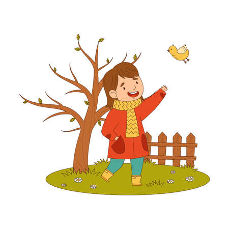 Cheerful Girl in Coat and Rubber Boots Enjoying Spring Season Watching Bird Fluttering Around Vector Illustration