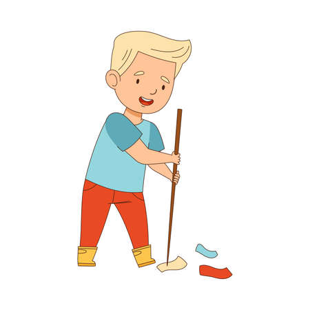 Cheerful Blond Boy Enjoying Spring Season Engaged in Litter Pick Gathering Rubbish with Stick Vector Illustration