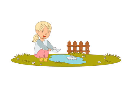 Little Blond Girl Enjoying Spring Season Playing with Paper Boat in Puddle Vector Illustration  イラスト・ベクター素材