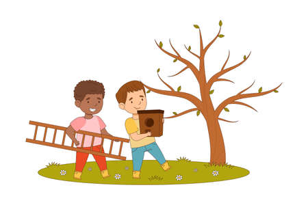 Happy Boys Walking with Nesting Box and Ladder Engaged in Spring Season Activity Vector Illustration