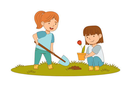 Happy Girls with Shovel Planting Flower in Soil Engaged in Spring Season Activity Vector Illustration  イラスト・ベクター素材
