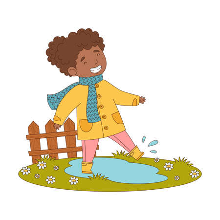 Happy Girl in Coat and Rubber Boots Walking in Puddle Engaged in Spring Season Activity Vector Illustration