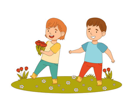Happy Boy and Girl Walking and Picking Flowers on the Meadow Engaged in Spring Season Activity Vector Illustration  イラスト・ベクター素材