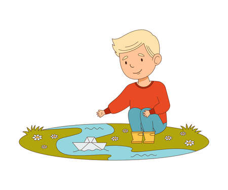 Happy Boy Sitting and Playing with Paper Boat in Puddle Engaged in Spring Season Activity Vector Illustration