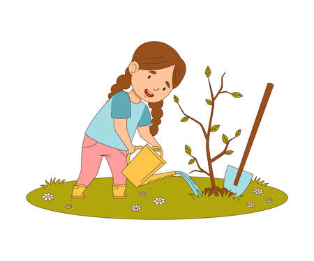 Happy Girl with Shovel Watering Tree Sapling Engaged in Spring Season Activity Vector Illustration  イラスト・ベクター素材