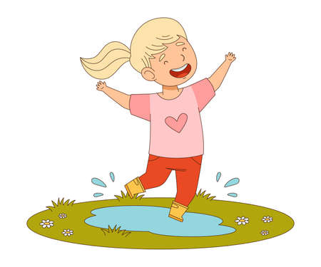 Happy Girl with Ponytail Jumping with Joy Splashing in Puddle Engaged in Spring Season Activity Vector Illustration  イラスト・ベクター素材