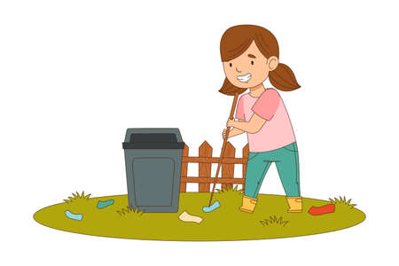 Cheerful Girl with Ponytails Enjoying Spring Season Engaged in Litter Pick Gathering Rubbish with Stick Vector Illustration